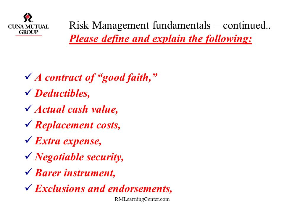 RMLearningCenter.com Risk Management fundamentals – continued.. Please define and explain the following: Phishing, PHarming, Skimming & refreshing, Id