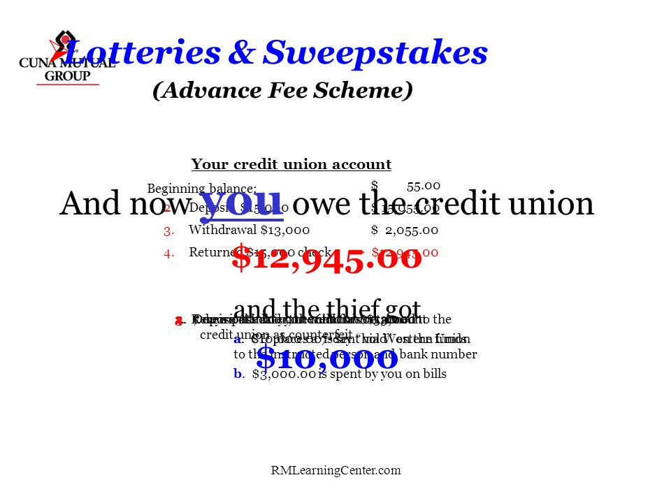 RMLearningCenter.com Lotteries & Sweepstakes Occurs when the victim pays money to someone in anticipation of receiving something of greater value. (So