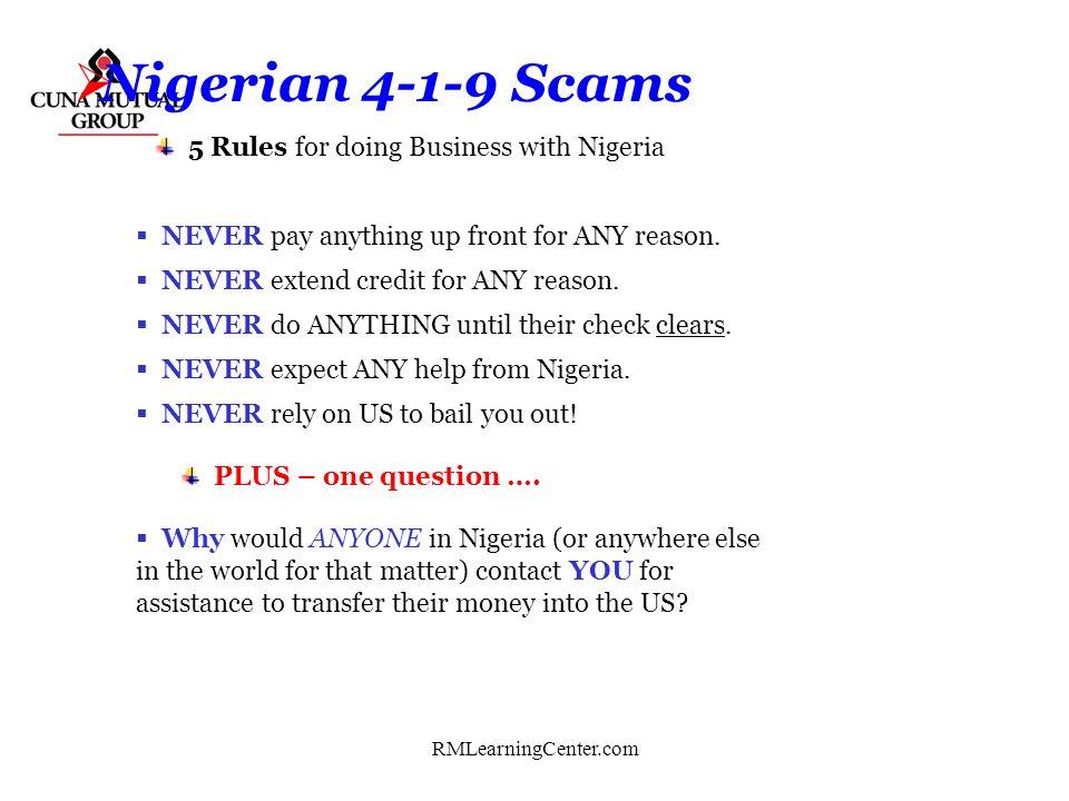 RMLearningCenter.com Nigerian 419 Scams