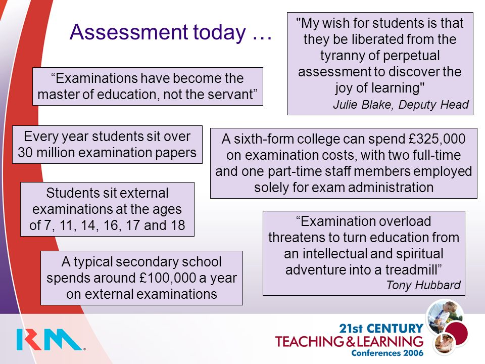 Assessment today … Examination overload threatens to turn education from an intellectual and spiritual adventure into a treadmill Tony Hubbard Every year students sit over 30 million examination papers A typical secondary school spends around £100,000 a year on external examinations Students sit external examinations at the ages of 7, 11, 14, 16, 17 and 18 Examinations have become the master of education, not the servant A sixth-form college can spend £325,000 on examination costs, with two full-time and one part-time staff members employed solely for exam administration My wish for students is that they be liberated from the tyranny of perpetual assessment to discover the joy of learning Julie Blake, Deputy Head