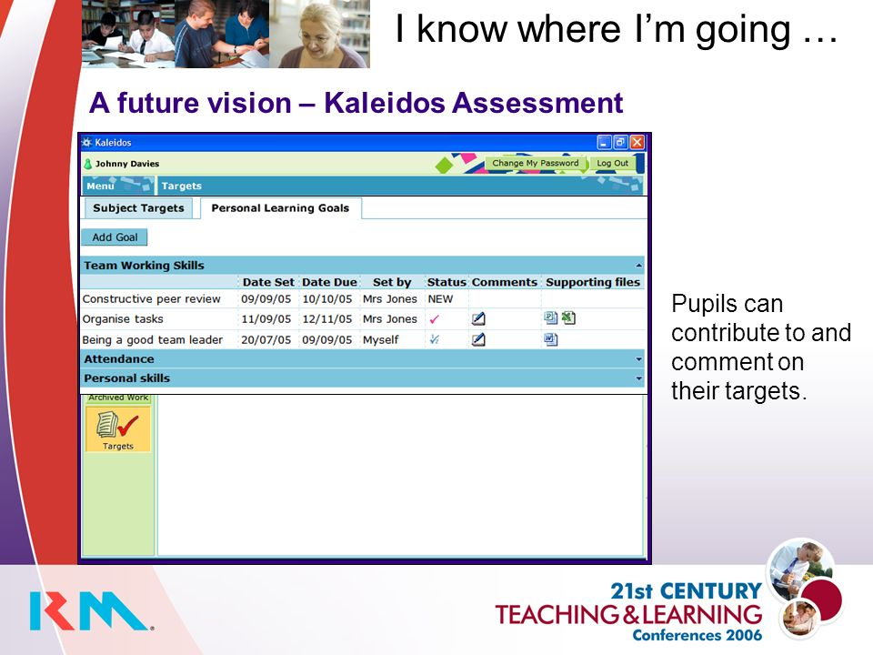 A future vision – Kaleidos Assessment Pupils can contribute to and comment on their targets.