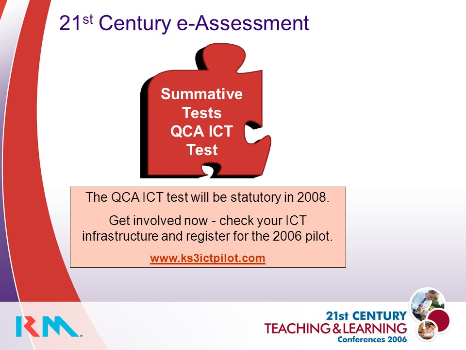 21 st Century e-Assessment The QCA ICT test will be statutory in 2008.