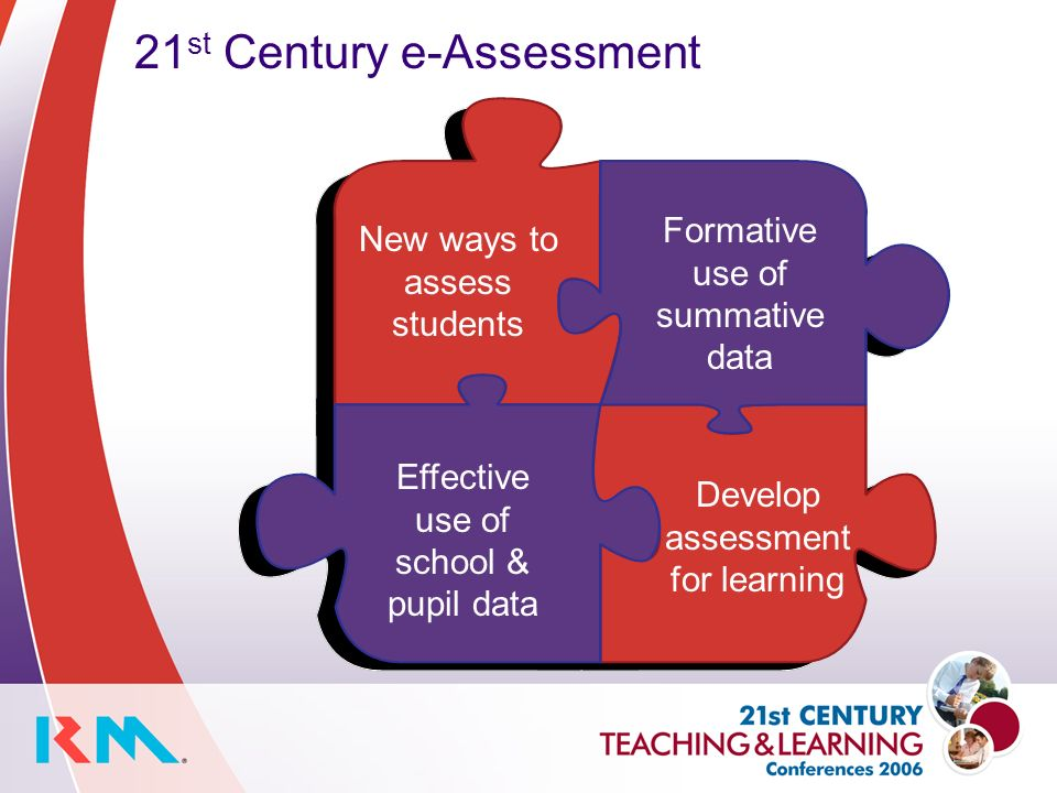 New ways to assess students Formative use of summative data 21 st Century e-Assessment Effective use of school & pupil data Develop assessment for learning