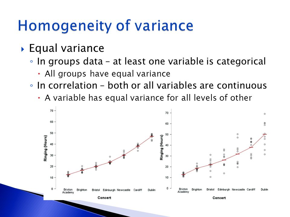 Equal variance In groups data – at least one variable is categorical All groups have equal variance In correlation – both or all variables are continu