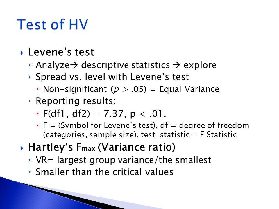Levenes test Analyze descriptive statistics explore Spread vs. level with Levenes test Non-significant (p >.05) = Equal Variance Reporting results: F(