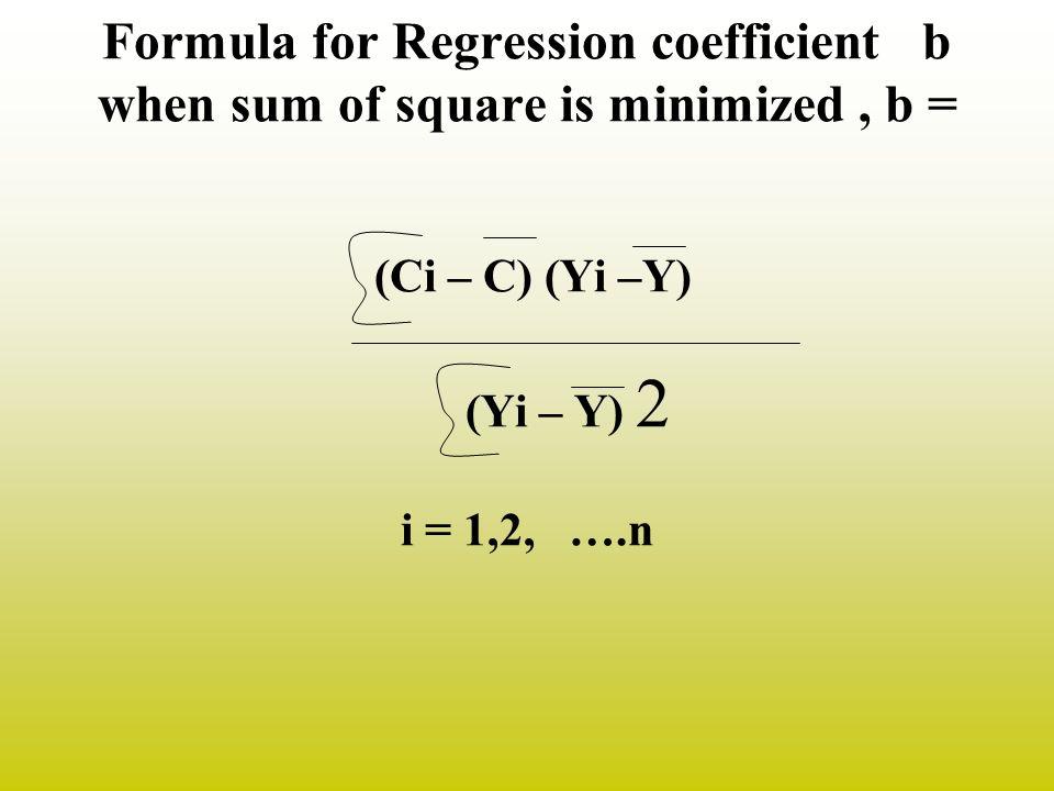 Formula for Regression coefficient b when sum of square is minimized, b = (Ci – C) (Yi –Y) (Yi – Y) 2 i = 1,2, ….n