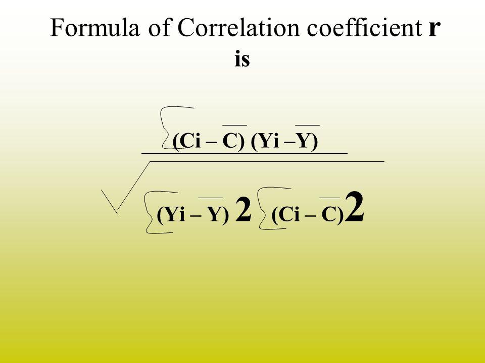 Formula of Correlation coefficient r is (Ci – C) (Yi –Y) (Yi – Y) 2 (Ci – C) 2