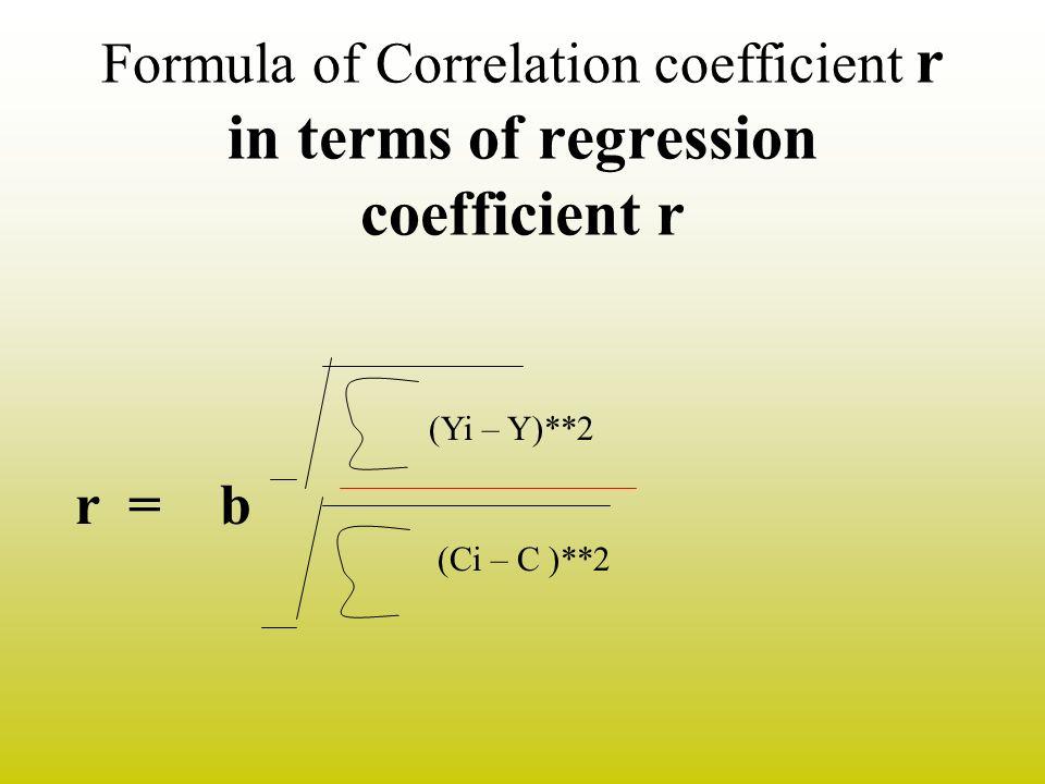 Formula of Correlation coefficient r in terms of regression coefficient r (Yi – Y)**2 (Ci – C )**2 r = b