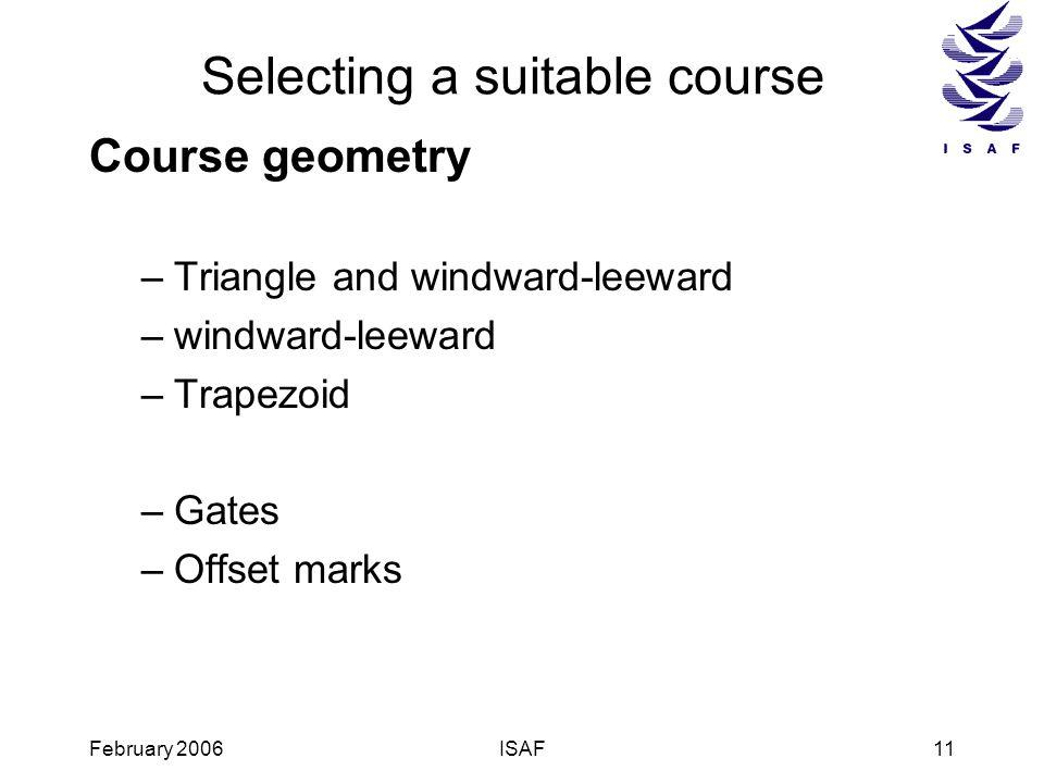 February 2006ISAF11 Selecting a suitable course Course geometry –Triangle and windward-leeward –windward-leeward –Trapezoid –Gates –Offset marks