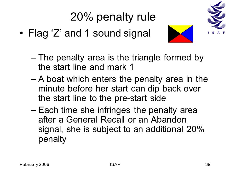 February 2006ISAF39 20% penalty rule Flag Z and 1 sound signal –The penalty area is the triangle formed by the start line and mark 1 –A boat which ent