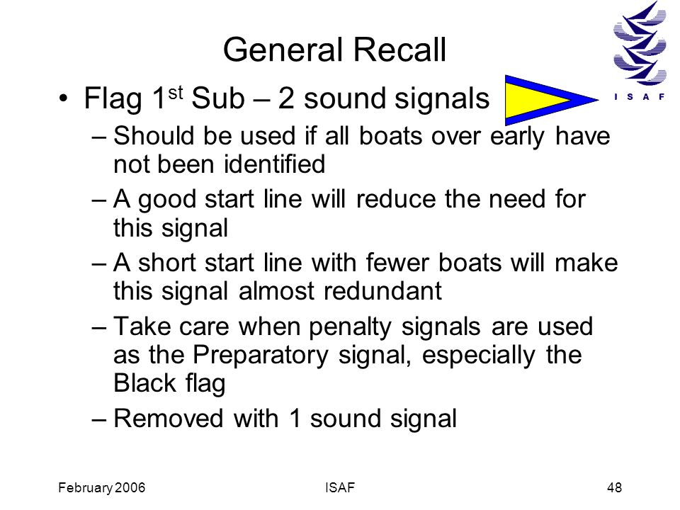 February 2006ISAF48 General Recall Flag 1 st Sub – 2 sound signals –Should be used if all boats over early have not been identified –A good start line