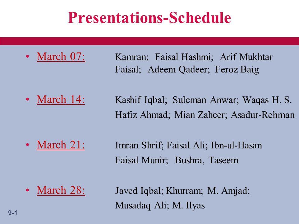 9-1 Presentations-Schedule March 07: Kamran; Faisal Hashmi; Arif Mukhtar Faisal; Adeem Qadeer; Feroz Baig March 14: Kashif Iqbal; Suleman Anwar; Waqas H.