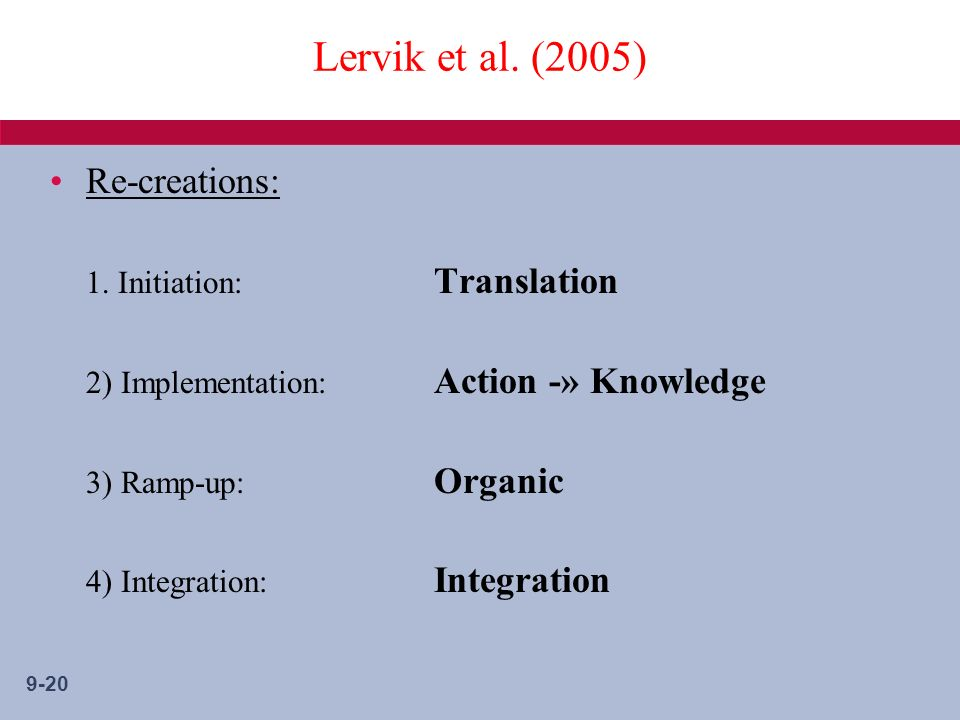 9-20 Lervik et al. (2005) Re-creations: 1.