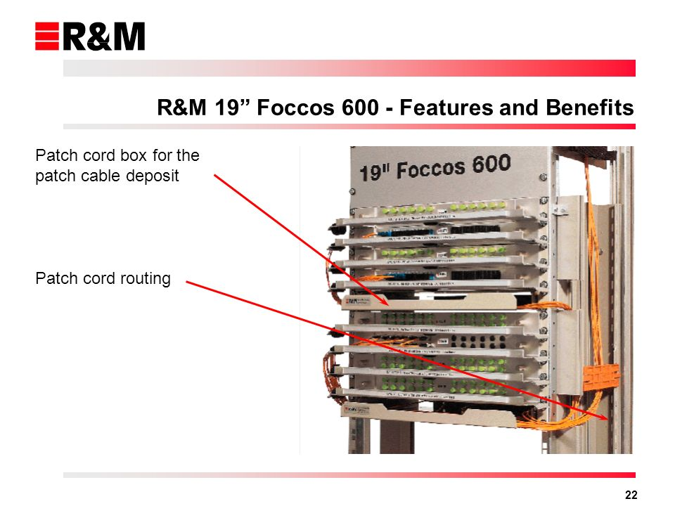 22 Patch cord box for the patch cable deposit Patch cord routing R&M 19 Foccos 600 - Features and Benefits