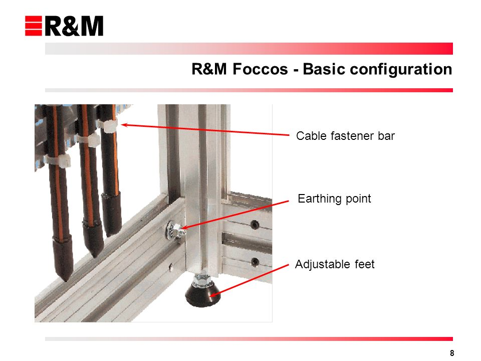 8 Cable fastener bar Earthing point Adjustable feet R&M Foccos - Basic configuration