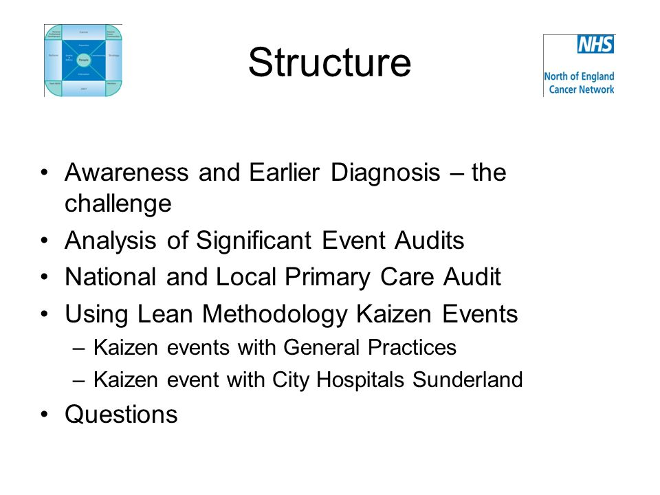 Structure Awareness and Earlier Diagnosis – the challenge Analysis of Significant Event Audits National and Local Primary Care Audit Using Lean Methodology Kaizen Events –Kaizen events with General Practices –Kaizen event with City Hospitals Sunderland Questions