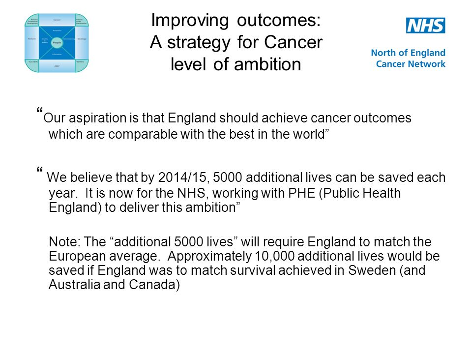 Improving outcomes: A strategy for Cancer level of ambition Our aspiration is that England should achieve cancer outcomes which are comparable with the best in the world We believe that by 2014/15, 5000 additional lives can be saved each year.