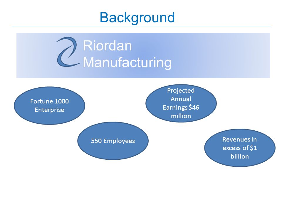 Background Riordan Manufacturing Fortune 1000 Enterprise 550 Employees Projected Annual Earnings $46 million Revenues in excess of $1 billion