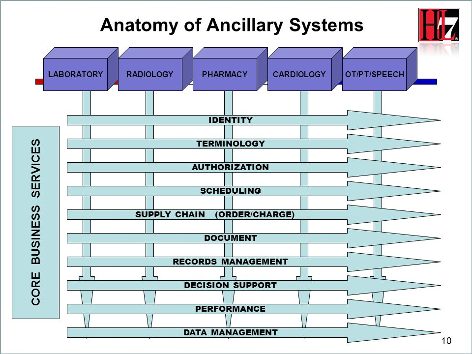 10 SUPPLY CHAIN (ORDER/CHARGE) Anatomy of Ancillary Systems AUTHORIZATION DOCUMENT RECORDS MANAGEMENT DECISION SUPPORT PERFORMANCE DATA MANAGEMENT SCH