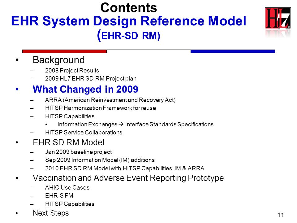 Contents EHR System Design Reference Model ( EHR-SD RM) Background –2008 Project Results –2009 HL7 EHR SD RM Project plan What Changed in 2009 –ARRA (
