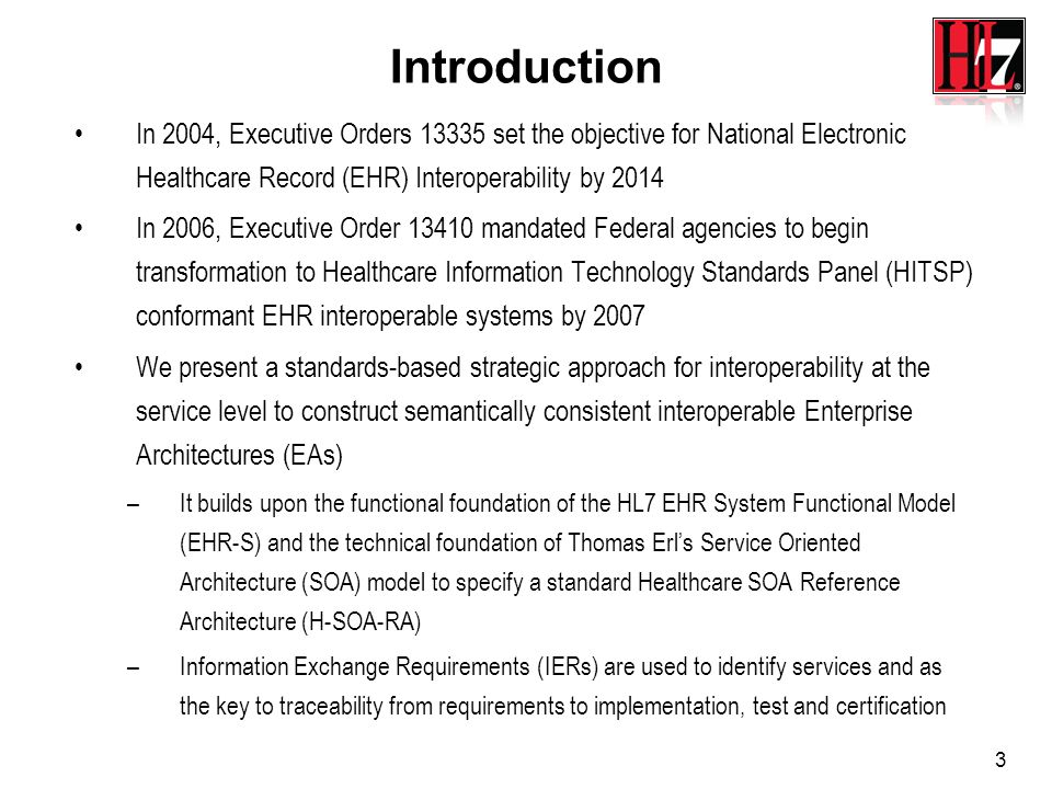 4 HL7 Project Intent Implement a step in HL7 roadmap –Identify gaps and overlaps in HL7s portfolio –Identify gaps in the EHR-S FM –Pilot HL7 ARB SAEAF methodology Create H-SOA-RA Version 2 Create Healthcare SOA EHR-SD Reference Model based on EHR System Functional Model (EHR-S FM) Create prototype architectural case study using HL7 HSSP Practical Guide for SOA in Healthcare sample health and service specifications, EHR-S FM, EHR-SD RM, AHIC Use Cases, HITSP Interoperability Specifications and NHIN services Demonstrate standards-based Model Driven Architecture (MDA) approach
