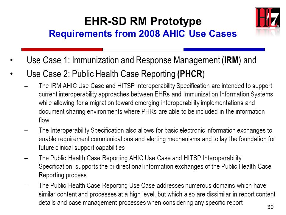 30 EHR-SD RM Prototype Requirements from 2008 AHIC Use Cases Use Case 1: Immunization and Response Management ( IRM ) and Use Case 2: Public Health Ca