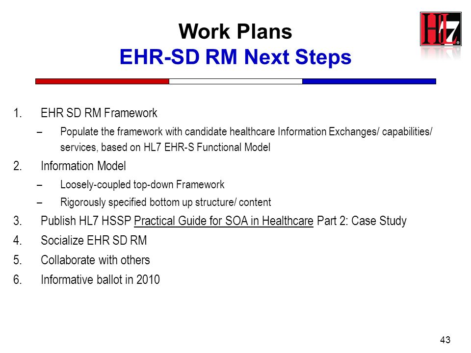 43 Work Plans EHR-SD RM Next Steps 1.EHR SD RM Framework –Populate the framework with candidate healthcare Information Exchanges/ capabilities/ servic