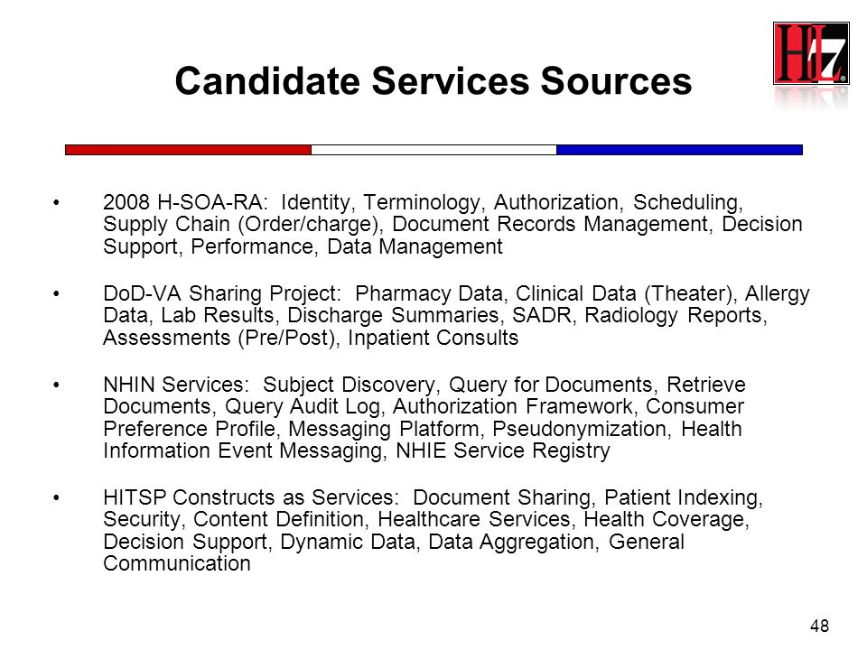 48 Candidate Services Sources 2008 H-SOA-RA: Identity, Terminology, Authorization, Scheduling, Supply Chain (Order/charge), Document Records Managemen