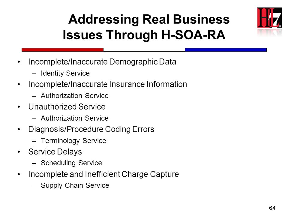 64 Addressing Real Business Issues Through H-SOA-RA Incomplete/Inaccurate Demographic Data –Identity Service Incomplete/Inaccurate Insurance Informati