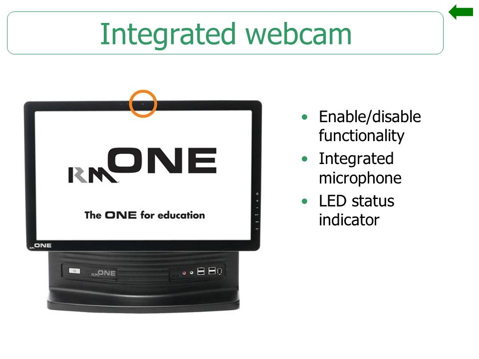Integrated webcam Enable/disable functionality Integrated microphone LED status indicator