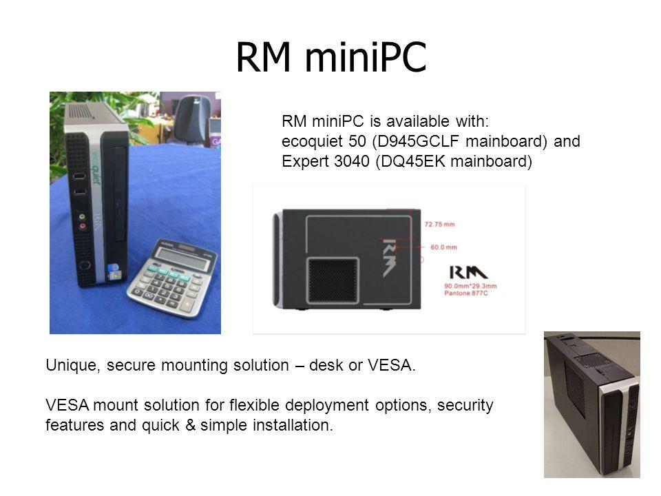 RM miniPC Unique, secure mounting solution – desk or VESA. VESA mount solution for flexible deployment options, security features and quick & simple i