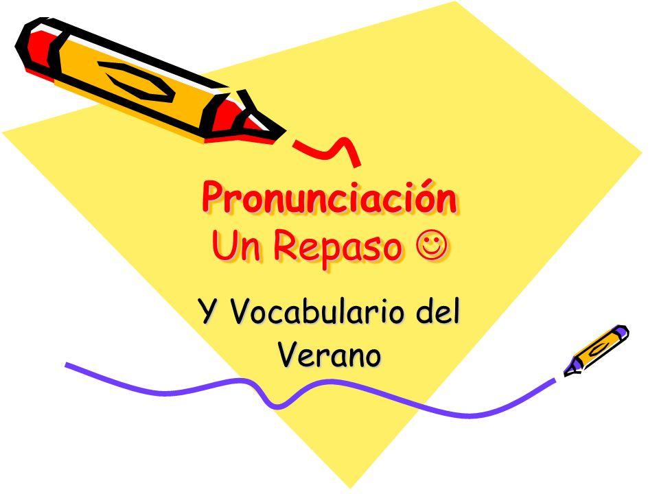Pronunciación Un Repaso Pronunciación Un Repaso Y Vocabulario del Verano