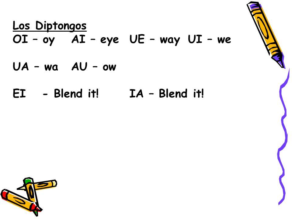 Los Diptongos OI – oyAI – eyeUE – wayUI – we UA – waAU – ow EI- Blend it!IA – Blend it!