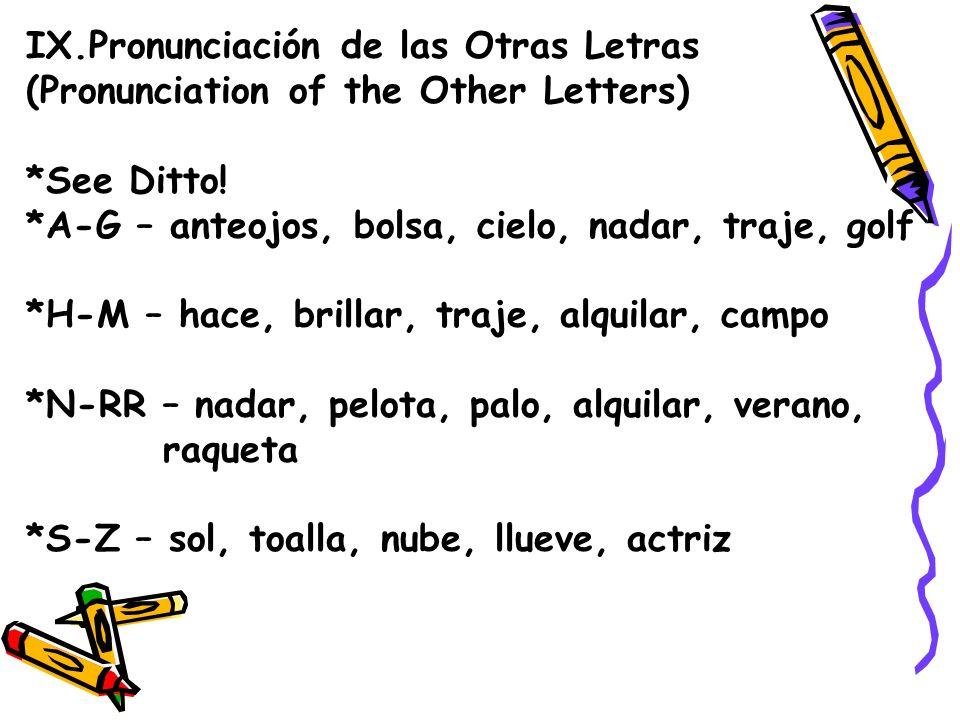 IX.Pronunciación de las Otras Letras (Pronunciation of the Other Letters) *See Ditto! *A-G – anteojos, bolsa, cielo, nadar, traje, golf *H-M – hace, b
