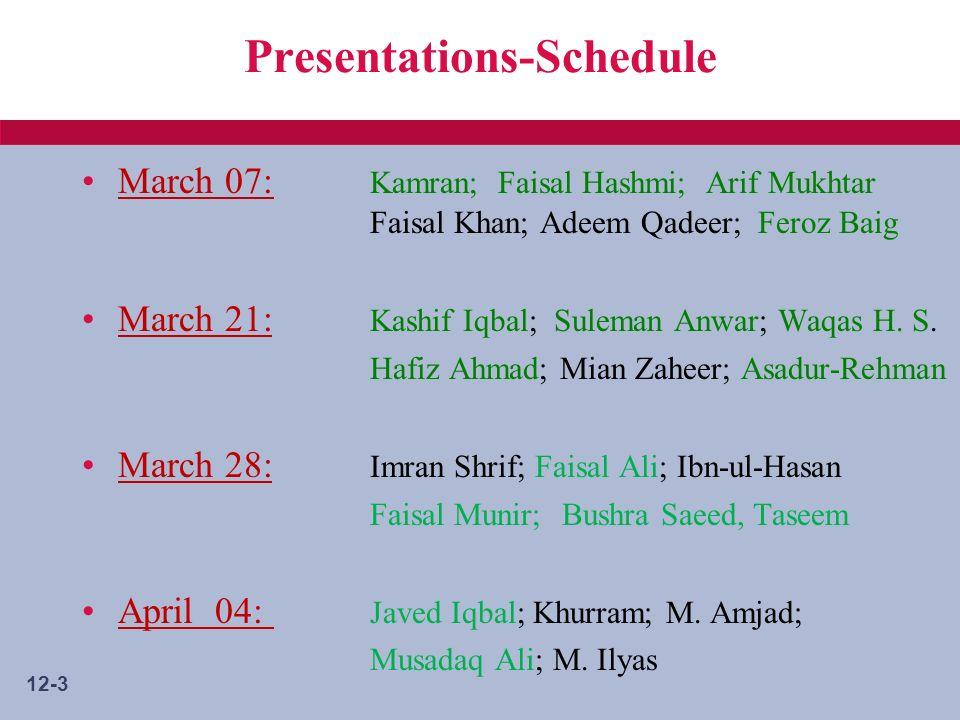 12-3 Presentations-Schedule March 07: Kamran; Faisal Hashmi; Arif Mukhtar Faisal Khan; Adeem Qadeer; Feroz Baig March 21: Kashif Iqbal; Suleman Anwar; Waqas H.