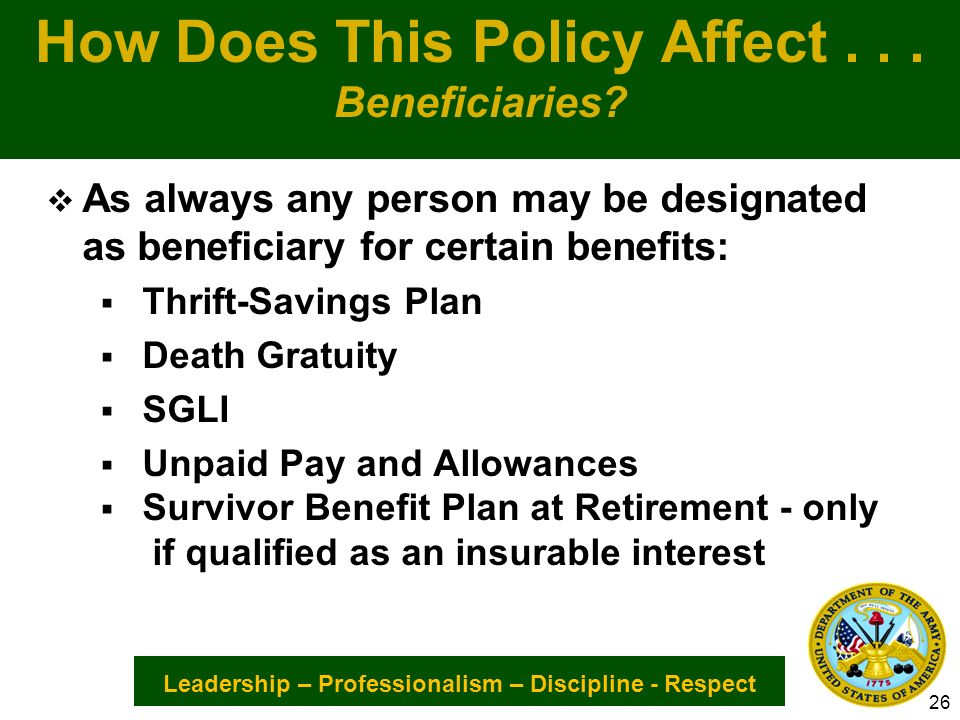 Leadership – Professionalism – Discipline - Respect How Does This Policy Affect...