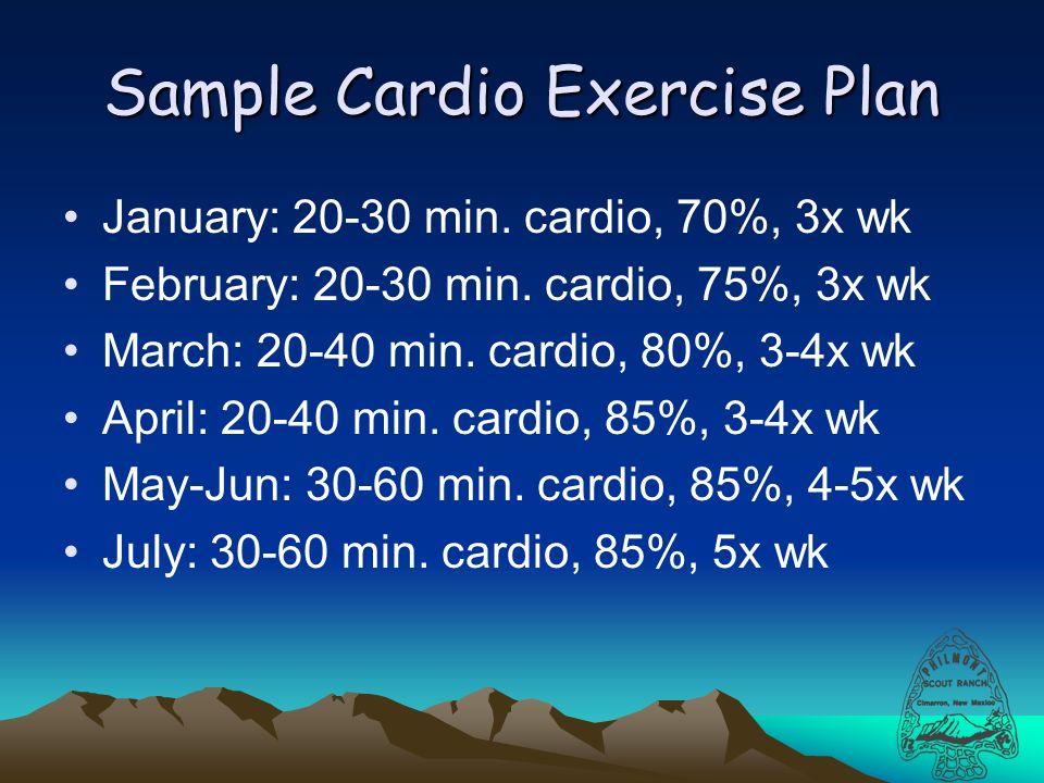 Sample Cardio Exercise Plan January: 20-30 min. cardio, 70%, 3x wk February: 20-30 min.