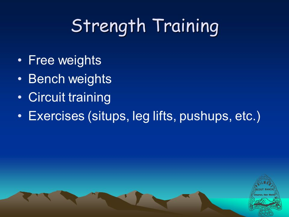 Strength Training Free weights Bench weights Circuit training Exercises (situps, leg lifts, pushups, etc.)