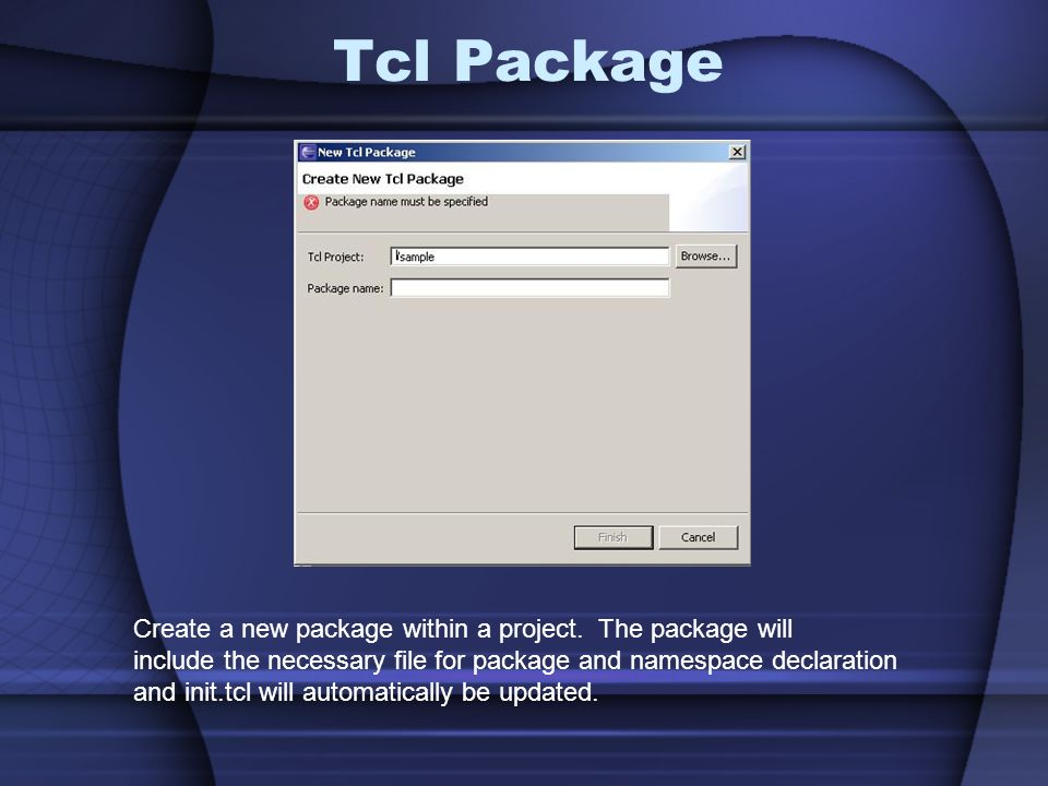 Tcl Package Create a new package within a project.