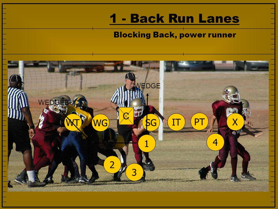 1 - Back Run Lanes 1234 SG IT PT WG WT X C WEDGE WEDGEBUCK Blocking Back, power runner