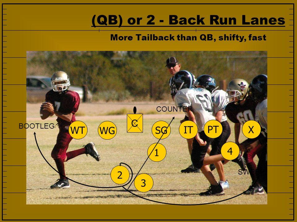 (QB) or 2 - Back Run Lanes 1234 SG IT PT WG WT X C COUNTER SWEEP BOOTLEG More Tailback than QB, shifty, fast
