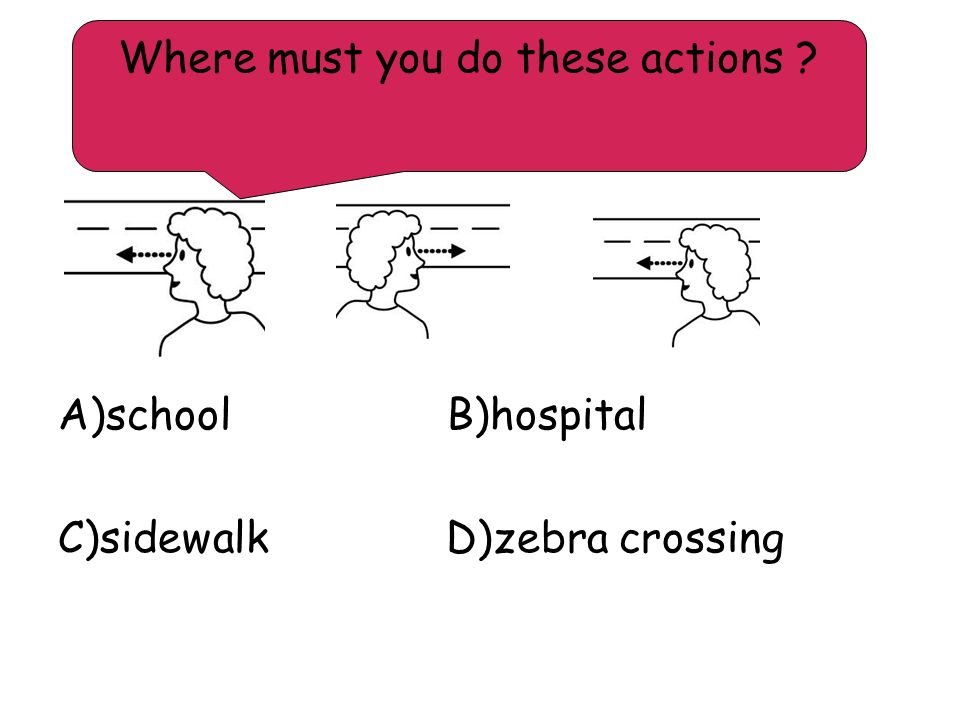 A)school B)hospital C)sidewalk D)zebra crossing Where must you do these actions ?