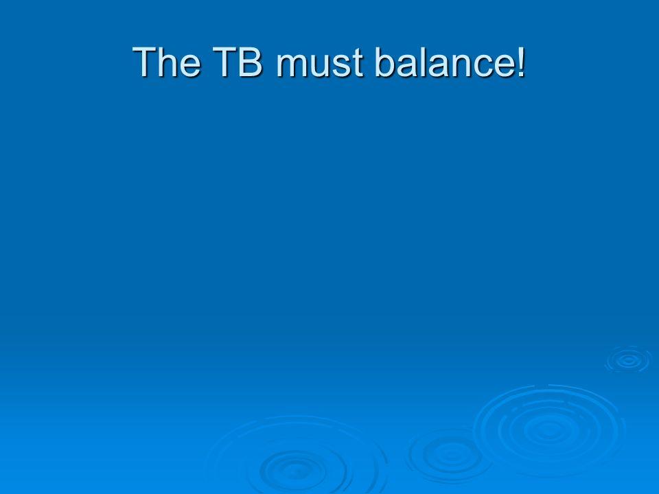 The TB must balance!