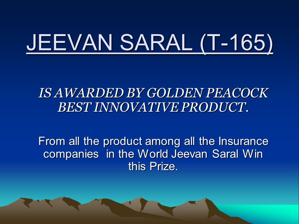JEEVAN SARAL (T-165) IS AWARDED BY GOLDEN PEACOCK BEST INNOVATIVE PRODUCT.