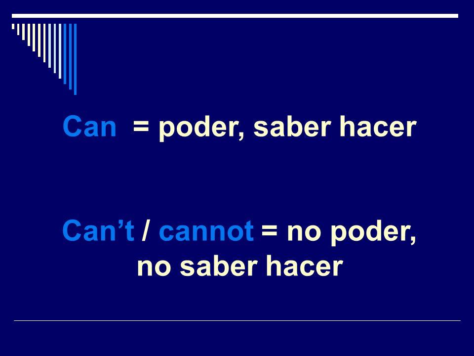 Can = poder, saber hacer Cant / cannot = no poder, no saber hacer