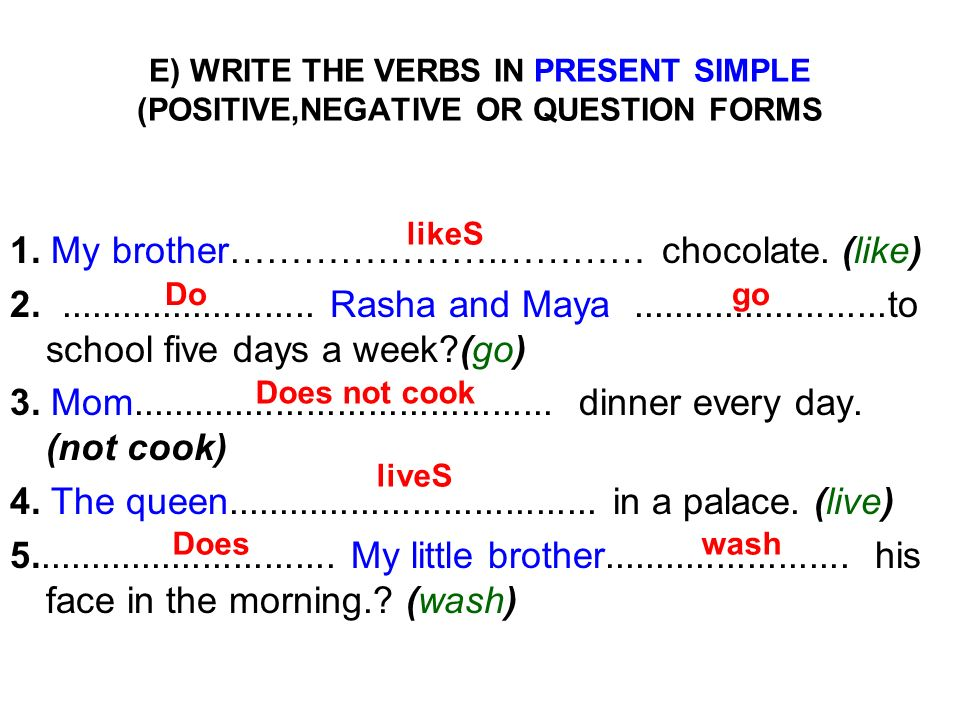 E) WRITE THE VERBS IN PRESENT SIMPLE (POSITIVE,NEGATIVE OR QUESTION FORMS 1. My brother………………….………… chocolate. (like) 2.......................... Rash