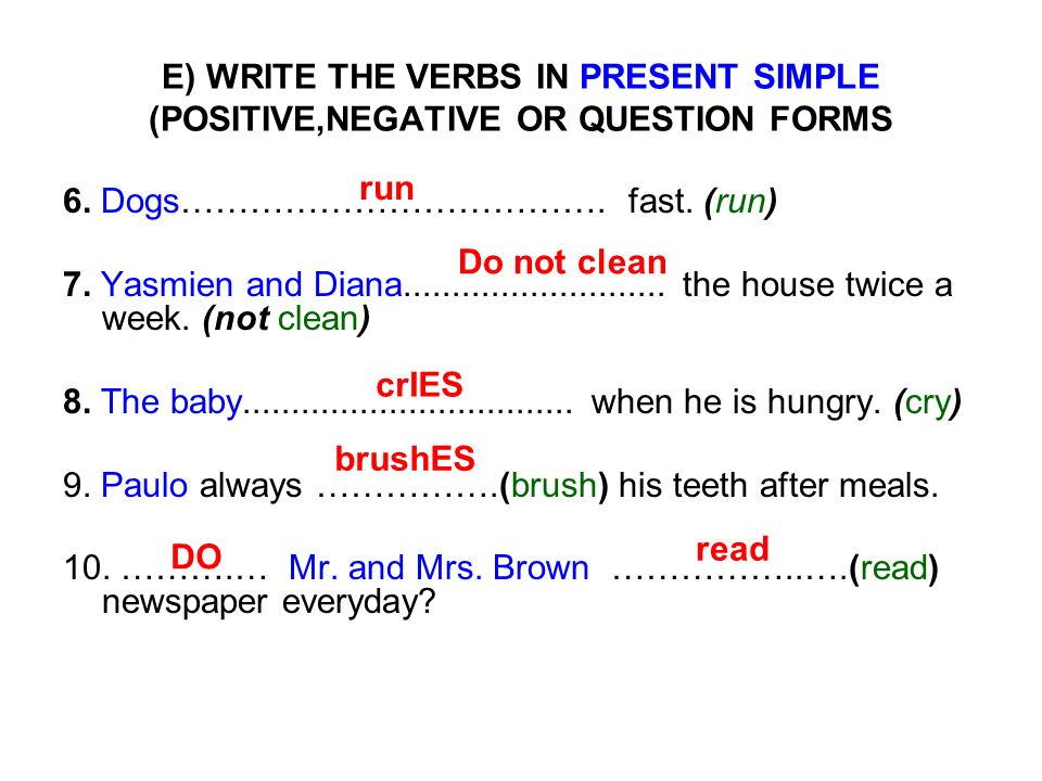 E) WRITE THE VERBS IN PRESENT SIMPLE (POSITIVE,NEGATIVE OR QUESTION FORMS 6. Dogs………………………………. fast. (run) 7. Yasmien and Diana.......................