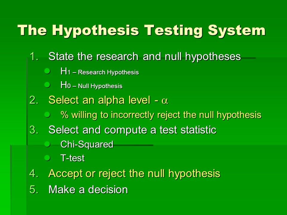 The Hypothesis Testing System 1.State the research and null hypotheses H 1 – Research Hypothesis H 1 – Research Hypothesis H 0 – Null Hypothesis H 0 –