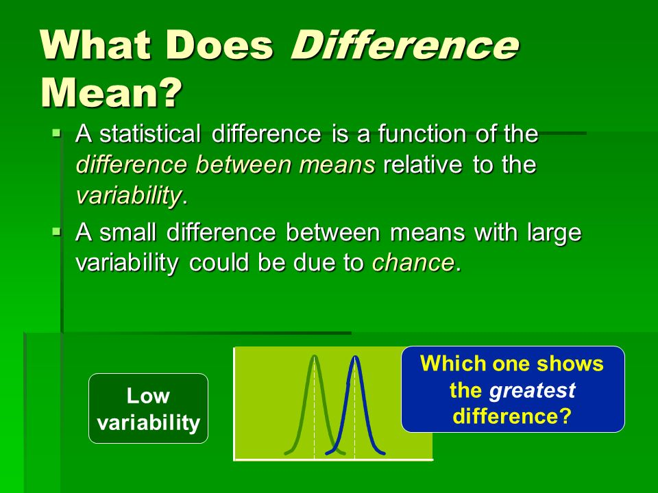 What Does Difference Mean? A statistical difference is a function of the difference between means relative to the variability. A statistical differenc
