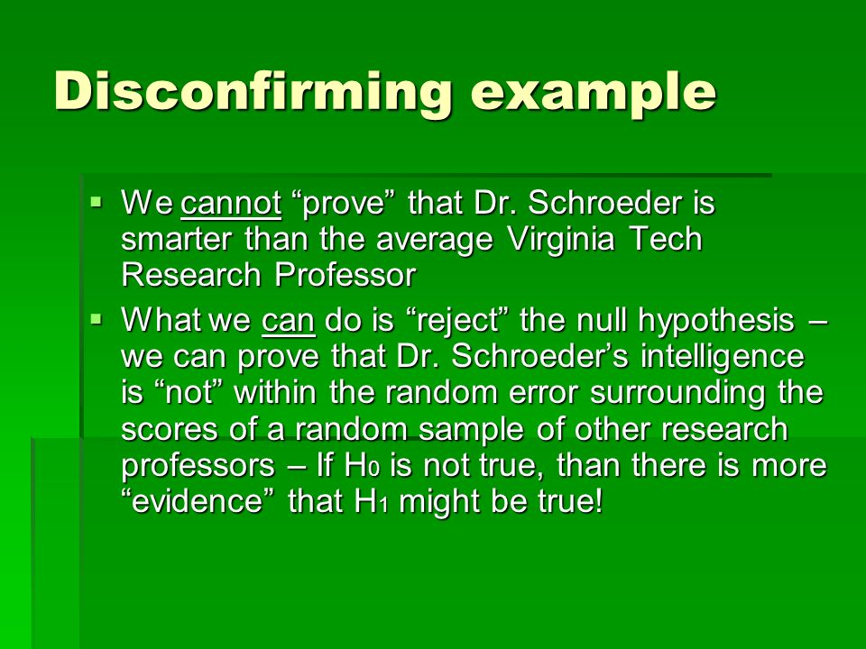 Disconfirming example We cannot prove that Dr. Schroeder is smarter than the average Virginia Tech Research Professor We cannot prove that Dr. Schroed